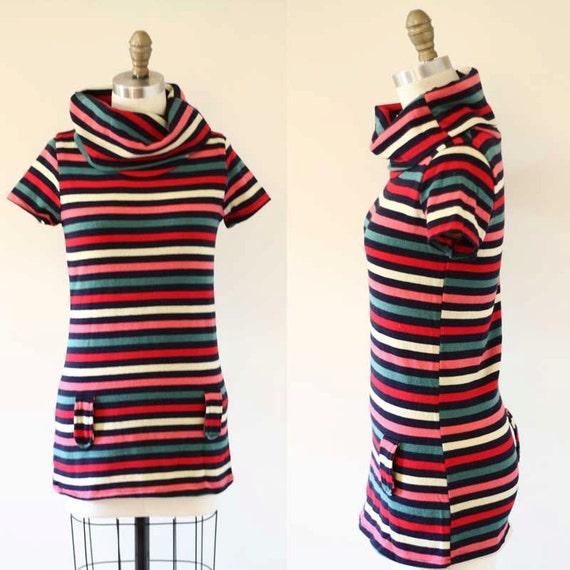 1970s striped tunic dress //  1970s mod dress // vintage casual dress