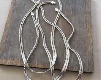Vintage Snake Chain Collar Necklace, Antique Silver Plate, 14.5""