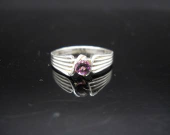 Sterling Silver Purple Crystal Ring Size 8 14ktgf Scalloped 925 Jewelry