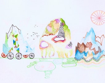 HANDDRAWN ART, originele een van een soort tekening / schilderij van bergen wandelen en trekken in aquarellen, zachte kleuren, dromerige landschap