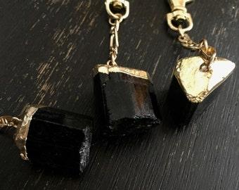 Mens Keychain,Black and Gold Keychain,Boyfriend Keychain,Men's Keychain,Stone Keychain,Classy Keychain,Man Keychain,Black Tourmaline