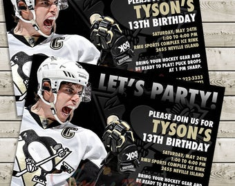 Sidney Crosby - Pittsburgh Penguins Invitation - Printable / Customizable