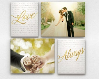Vow Art and Wedding Photos with Faux Gold or Silver Print on Canvas
