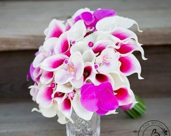 Orchid wedding bouquet, calla lily bridal bouquet, hot pink calla lily and orchid wedding bouquet, pearl crystals bouquet, tropical wedding