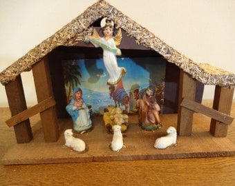 Vintage Mid Century Nativity Set - Manger - Creche + 7 Figures - Hand Painted - 1950s Religious Christmas  Decor