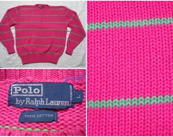 Vintage Retro Men's 90's Polo Ralph Lauren Sweater Pink Green Stripe Cotton Knit Large
