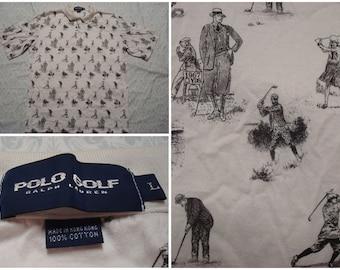 Vintage Retro Men's 90's Polo Golf Ralph Lauren Polo Shirt White Black All Over Print Golfers Rare Large