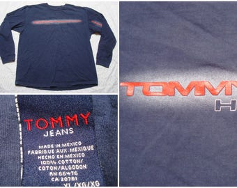 Vintage Retro Men's Tommy Jeans Tee Shirt Hilfiger Spellout Red Blue Long Sleeve XL
