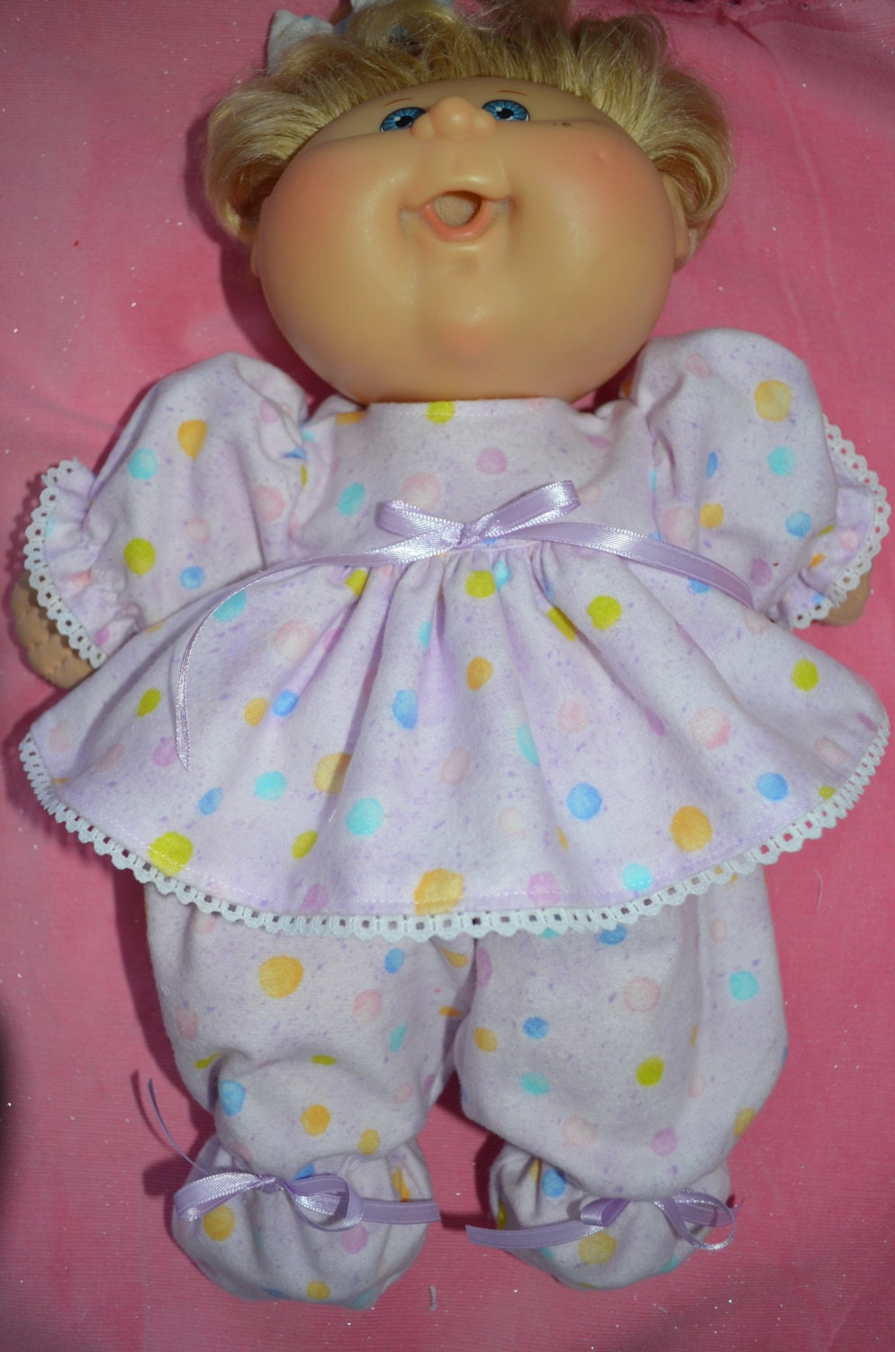 14 babies cabbage patch doll clothes footed flannel