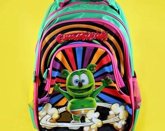 Gummibär The Gummy Bear Rolling Backpack ~ Back To School ~ Colorful Bright Fun Rainbow