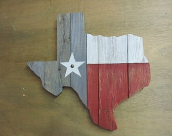Texas Flag in the outline of Texas - Recycled Fence Wood with aged-look paint