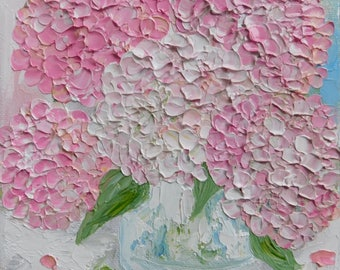 Original Oil Pink Hydrangea Painting, Small Oil Painting, Hydrangea Impasto Painting, Wedding, Corporate Gifts
