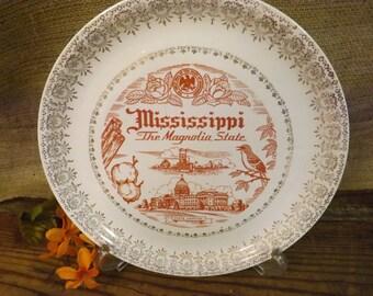 Mississippi Souvenir Plate Mississippi State Plate Vintage Souvenir Plate