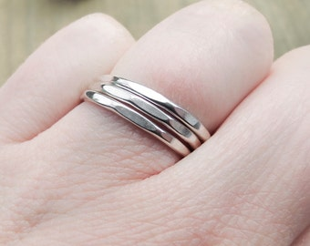 Faceted Stacking Rings, Set of Three, Sterling Silver, Geometric, Handmade, Unique Jewelry, Designer, delicate, minimalist, natural, boho