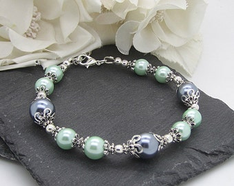 Grey and Mint Pearl Bracelets, Mint Wedding Jewellery, Grey Bridesmaid Bracelet, Bridal Party Gifts, Pearl Bridal Sets, Thank You Gifts