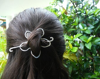 Flower Hair Slide Silver Filled Hair Slide For Women Handmade Hair Accessories