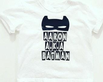 Personalized Batman Superhero Shirt or Onesie CUSTOM SIZES