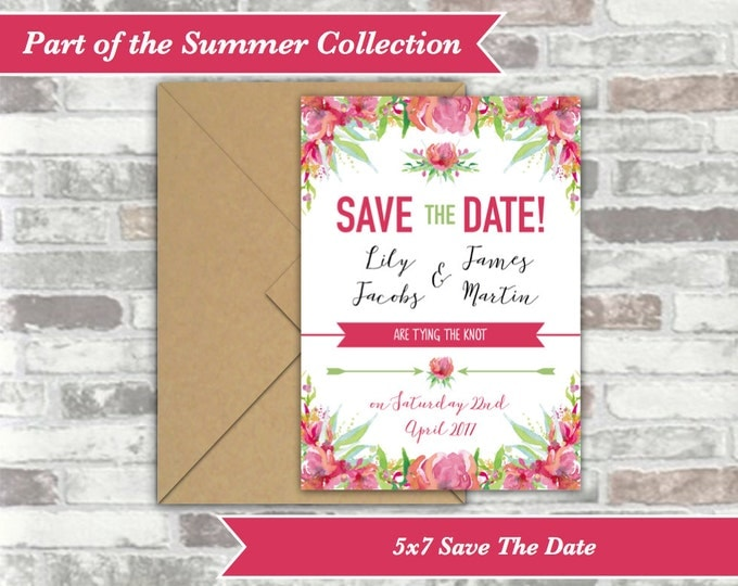 PRINTABLE Digital File - Personalised Wedding Save The Date Cards Postcards - Pink Floral Watercolour - 5x7 - Printable Wedding Invitations