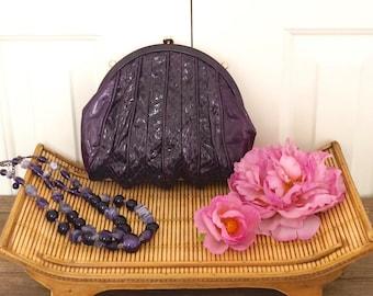 vintage purple leather handbag small shoulder bag