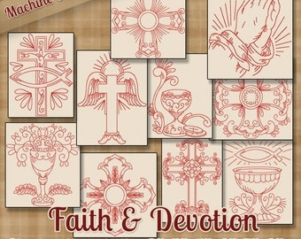 Redwork Faith & Devotion Machine Embroidery Patterns / Designs - 6 Sizes - 10 Designs - 2 Sizes Each - Religious Christian Jesus Church