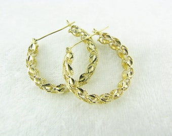 Gold Filigree 14K Diamond Cut Hoops Gold Earrings Unique Medium Hoops Yellow Gold Earrings Estate Earrings Solid 14K Hoops Gifts For Her