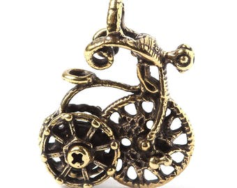 Brass old time bike charm L3402. Antique brass, bicycle, vintage, spokes wheel, handmade findings. Designed and made by Anna Bronze.