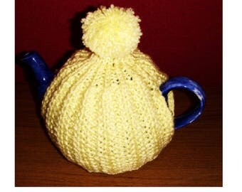 KNITTED TEA COSY - Hand Knitted Cosy - lemon Tea Cosy - Knitted Cozies - Knitted Tea Cosies - Tea Cozies - Kitchen Gift - Kitchen Accessory