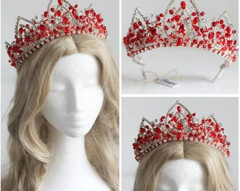 Fast Delivery Ruby Red Silver Cyrstal High Bridal Crown Tiara
