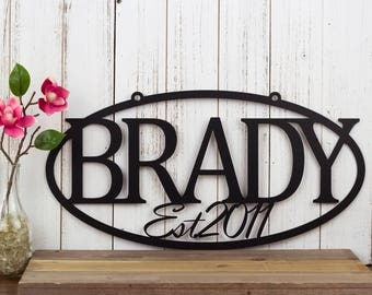 "Family Established Metal Sign | Name Sign | Established | Metal Wall Art | Custom Sign | Outdoor Sign | House Sign | 20""W x 10""H"