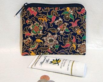 Coin Pouch, Navy, Make Up Bag, Indonesian Batik, Zipped Bag, Change Purse, Coin Purse
