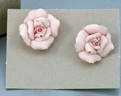 Vintage Porcelain Rose Earrings - Avon 'Porcelain Petals' Pink Rose Clip Earrings (1987) with original box. Vintage Avon Earrings.