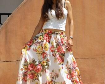Maxi Skirt ....Long Skirt ....Full Length Skirt...Soft and Floaty..Floral Printed