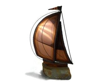 Vintage DeMott Copper Sailboat * Nautical Beach Decor * Mixed Metal Boat Sculpture