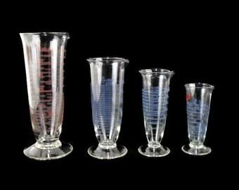 Vintage Pharmaceudical Graduates * Set of 4 * Dual Scale Graduated Apothecary Glass