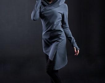 Long sleeve-tunic Assassin  with deep hood and asymmetric bottom, Лонгслив-туника с глубоким капюшоном и ассиметричным низом