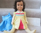 ON HOLD SALE 1960s Chatty Cathy dark hair freckled with 2 original outfits and original registration warranty card