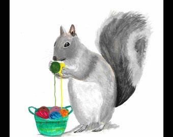 SALE Squirrel art watercolour Woodland animal art Nursery art Knitter gift Beautiful animal art Cute animal art Gift idea 9 x 12 inches