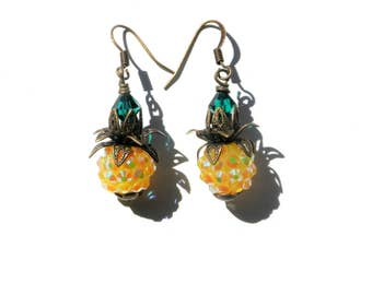 Pineapple Earrings - Hawaii  Kai Earrings /  Good Luck Earrings / Kitschy Earrings / Dangle Earrings