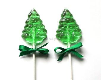 10 Christmas Party Favors, Christmas Tree, Stocking Stuffers, Christmas Gifts, Christmas Table Centerpiece, Barley Sugar Pops, 10 Lollipops