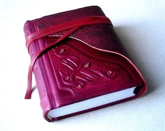 Dark Red Leather Journal, Sketchbook, Floral Ornament Relief, Gilding, Hard Cover Blank Book