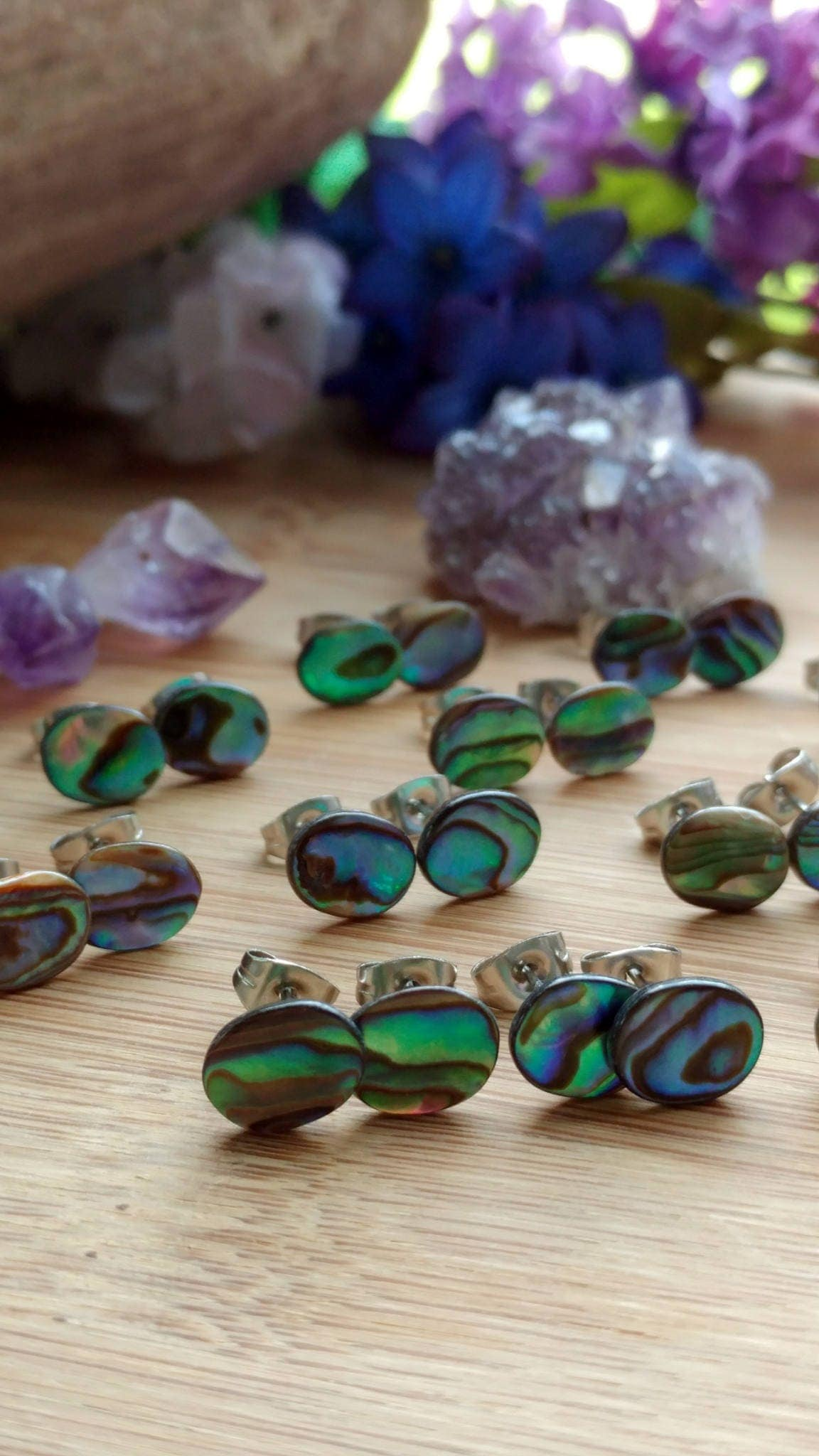 pin jacket interchangeable abalone earrings stud