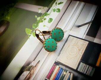 Polka dot earrings, Polka dot jewelry, Teal earrings,Teal polka dot jewelry,Retro earrings, Fabric earrings,Button earrings