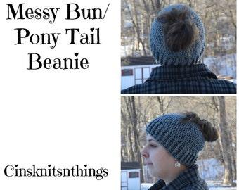 Messy Bun Beanie - Ponytail Hat - Messy Bun Hat - Mom Bun Hat - Women's Messy Bun Hat - Child Messy Bun Hat - Bun Beanie