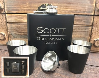 Groomsmen Gift- 5 Personalized Laser Engraved Leather Flask Sets, Groomsmen Gifts, Wedding Favor, Gift for Groomsmen, Flask Gift Set