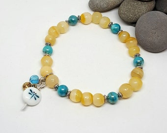 Yellow and Teal Dragonfly Bracelet - Yellow Bracelet - Teal Bracelet - Dragonfly Bracelet