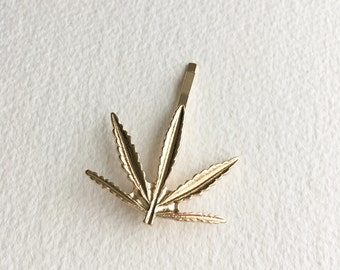 Gold Weed hairpin, Marijuana hair clip, Marijuana accessories, weed, stoner gift,Hairpin hairclip cannabis ganja GOLD LEAF
