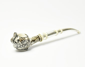 NEW Elephant Tobacco Smoking Pipe with Nickel Silver Pipe Handle