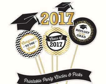 Graduation Party Circles and Picks, PRINTABLE, Black and Gold Tones, 4 Inch, Graduation Decorations, 2017
