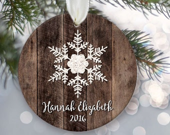 """Personalized family ornament, Personalized family name ornament, Custom Christmas Ornament, """"Wood"""" & Snowflake Ornament Holiday Gift OR734"""