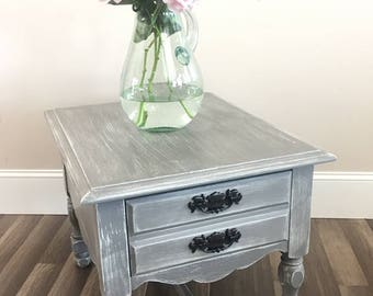 Gray floral distressed nightstand